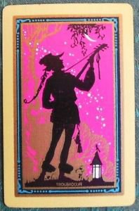 """TROUBADOUR"" SILHOUETTE VINTAGE USNN NARROW NAMED SWAP PLAYING CARD NAMED"