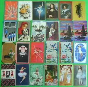 24 Different VINTAGE 1940-1980 Dancers Art Soldiers Boat Bird SWAP PLAYING CARDS