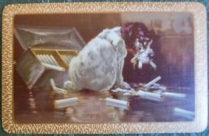 """""""FED UP"""" NAUGHTY DOG CHEW CIGARETTES-UKNN VINTAGE NARROW NAMED SWAP PLAYING CARD"""
