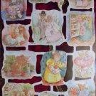 Vintage Die Cut Scrap Paper Glanzbilder Dressed ANIMALS MLP 1745-1746 Full Sheet