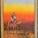 """OASIS"" RIDING CAMEL IN DESERT - 1 VINTAGE ANTIQUE WIDE NAMED SWAP PLAYING CARD"