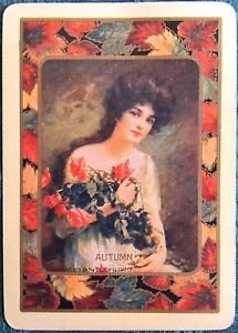 """""""AUTUMN"""" PRETTY LADY with ORANGE ROSES-VINTAGE USWN WIDE NAMED SWAP PLAYING CARD"""
