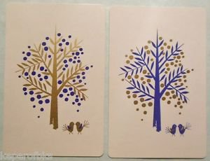Abstract Modern Trees Pair Tiny Birdies-1 PR Vintage 1960's SWAP PLAYING CARDS