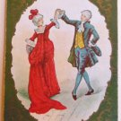 MINUET-DANCING COUPLE USPC ANTIQUE EARLY 1900s VTG USWN WIDE SWAP PLAYING CARD