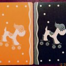 """ROLL ALONG"" TERRIER DOG on ROLLER SKATES POLKA DOTS-VINTAGE SWAP PLAYING CARDS"