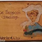 Seasons Greetings Gibson Girl-Hand Painted Antique Leather Postcard-Wash., Ohio