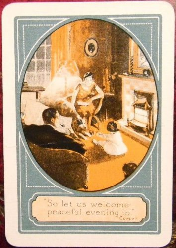 ART DECO FAMILY + DOG in LIVING ROOM-UK GAS ADVERTISING WIDE SWAP PLAYING CARD