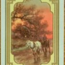 """HOMEWARD""  HORSECART NIGHT-1 ANTIQUE VINTAGE USWN WIDE NAMED SWAP PLAYING CARD"