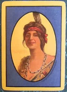 """IROQUOIS"" Indian Maiden-1908 ANTIQUE VINTAGE USWN WIDE NAMED SWAP PLAYING CARD"