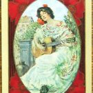 IN OLD MADRID-PRETTY LADY-RED TITLE-ANTIQUE VTG USWN WIDE NAME SWAP PLAYING CARD