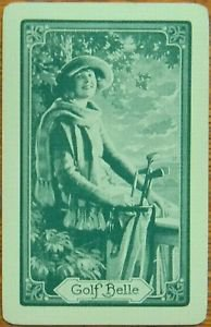 """GOLF BELLE"" PRETTY LADY GOLFER-GREEN-VINTAGE NN NARROW NAMED SWAP PLAYING CARD"