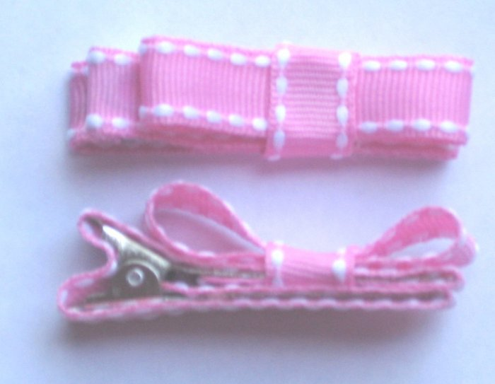 Set of 2 Pink Stiched Hair Clips