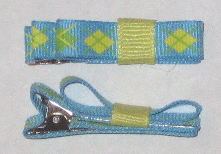 Set of 2 Blue/Yellow/Green Hairl Clips
