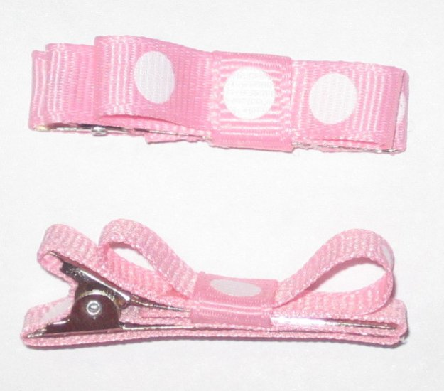 Set of 2 Pink with White Polka Dots Hair Clips
