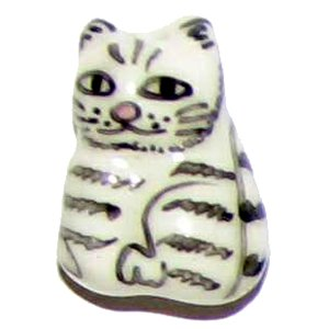 3 Ceramic Black & White Striped Cat Beads - Cats