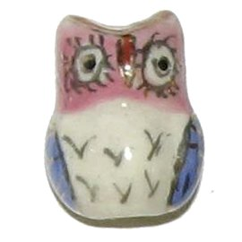 3 Ceramic Owl Beads - Owls
