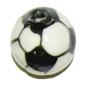 3 Ceramic Soccer Ball Beads - Balls