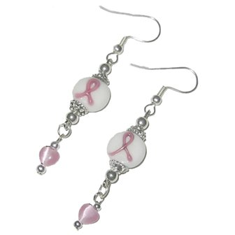 Handmade Breast Cancer Awareness Dangle Earrings