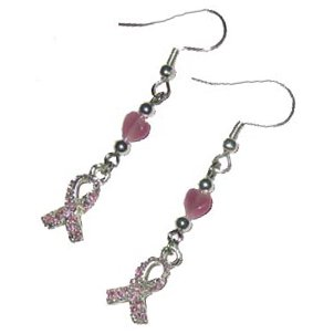 Handmade Breast Cancer Awareness Dangle Ribbon Earrings
