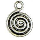 6 Antique Silver Swirl Charms