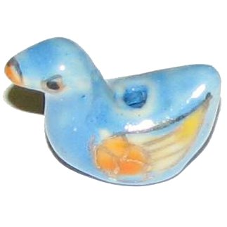 3 Ceramic Blue Duck Beads - Ducks