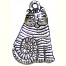6 Silver Metal Striped Sitting Cat Charms - Cats