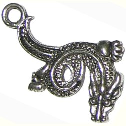 6 Antique Silver Dragon Charms - Dragons
