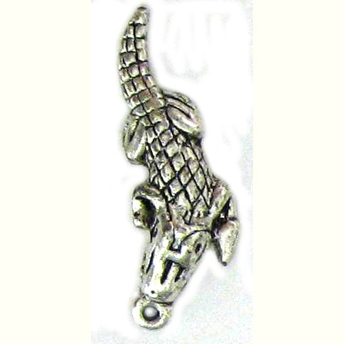 6 Antique Silver Alligator Charms