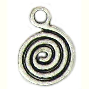6 Antique Silver Single Swirl Charms