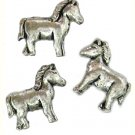 6 Antique Silver Horse Beads - Horses