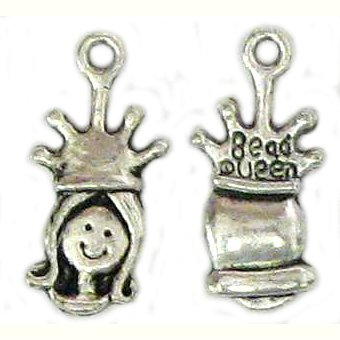 6 Antique Silver Princess Head Charms - Princesses