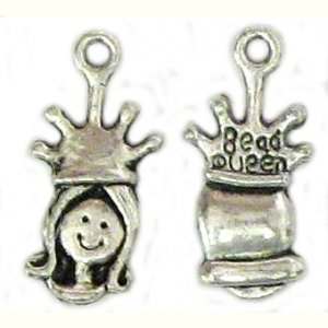 6 Antique Silver Princess Head Charms - Princesses