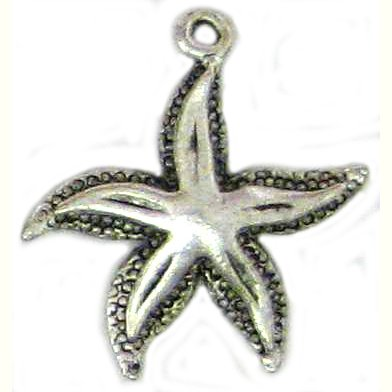 6 Antique Silver Starfish Charms #1