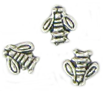 10 Antique Silver Bee Beads - Bees