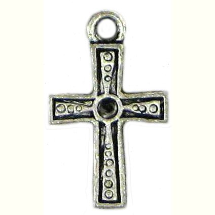 6 Antique Silver Cross Charms - Crosses