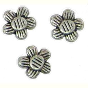 10 Antique Silver Grooved Flower Beads - Flowers
