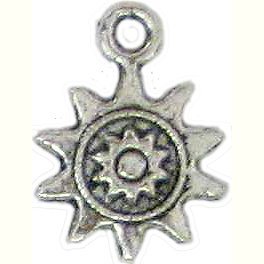 6 Antique Silver Ornate Sun Charms