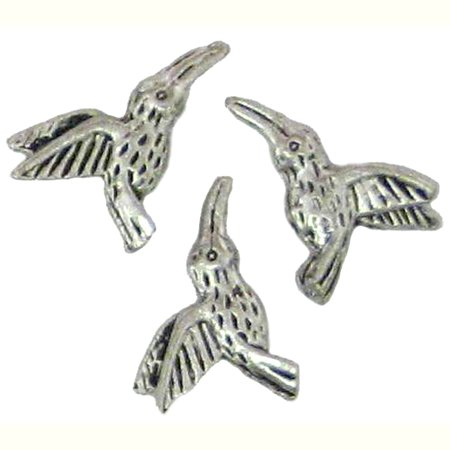 6 Antique Silver Hummingbird Beads - Hummingbirds