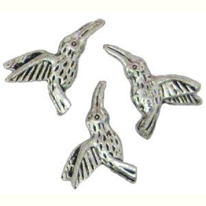 6 Antique Silver Hummingbird Beads - Hummingbirds