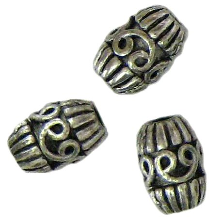 10 Antique Silver Swirl Barrel Beads