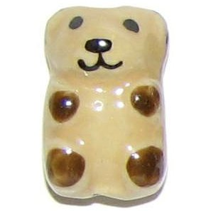3 Ceramic Brown Bear Beads - Bears