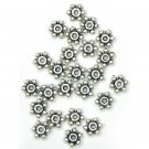 100 7mm Antique Silver Daisy Spacer Beads