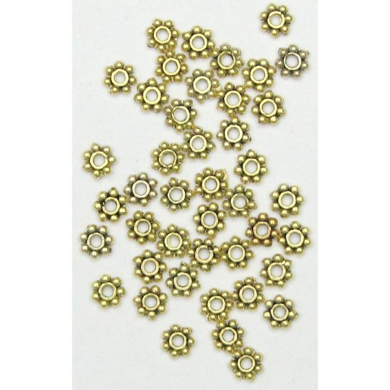 100 4mm Antique Gold Daisy Spacer Beads