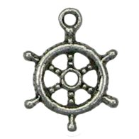 6 Antique Silver Ship's Wheel Charms