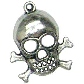 4 Silver Metal Skull & Crossbones Charms - Skulls