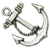 6 Antique Silver Anchor Charms