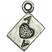 6 Antique Silver Ace of Hearts Charms