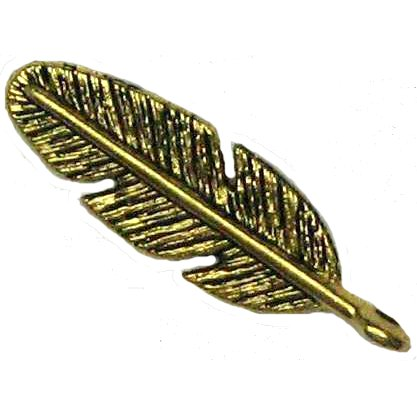 6 Antique Gold Feather Pendants - Feathers