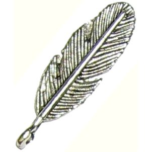 6 Antique Silver Feather Pendants