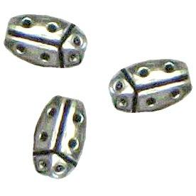 10 Pot Silver Ladybug Beads - Ladybugs